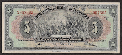 Salvador currency Colones banknote