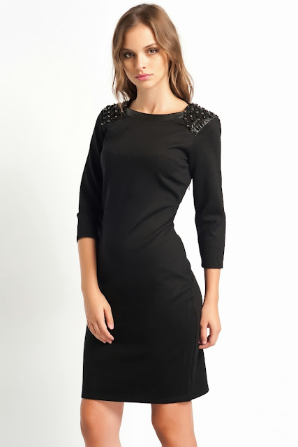 siyah dar kesim elbise, omuzları parlak taşlı koton 2014