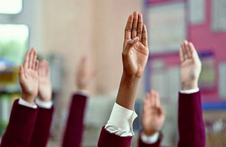 Students's hands raised to ask a question