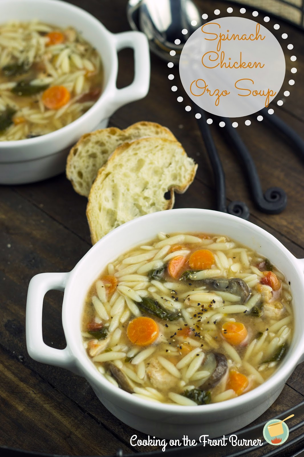Spinach Chicken Orzo Soup | Cooking on the Front Burner