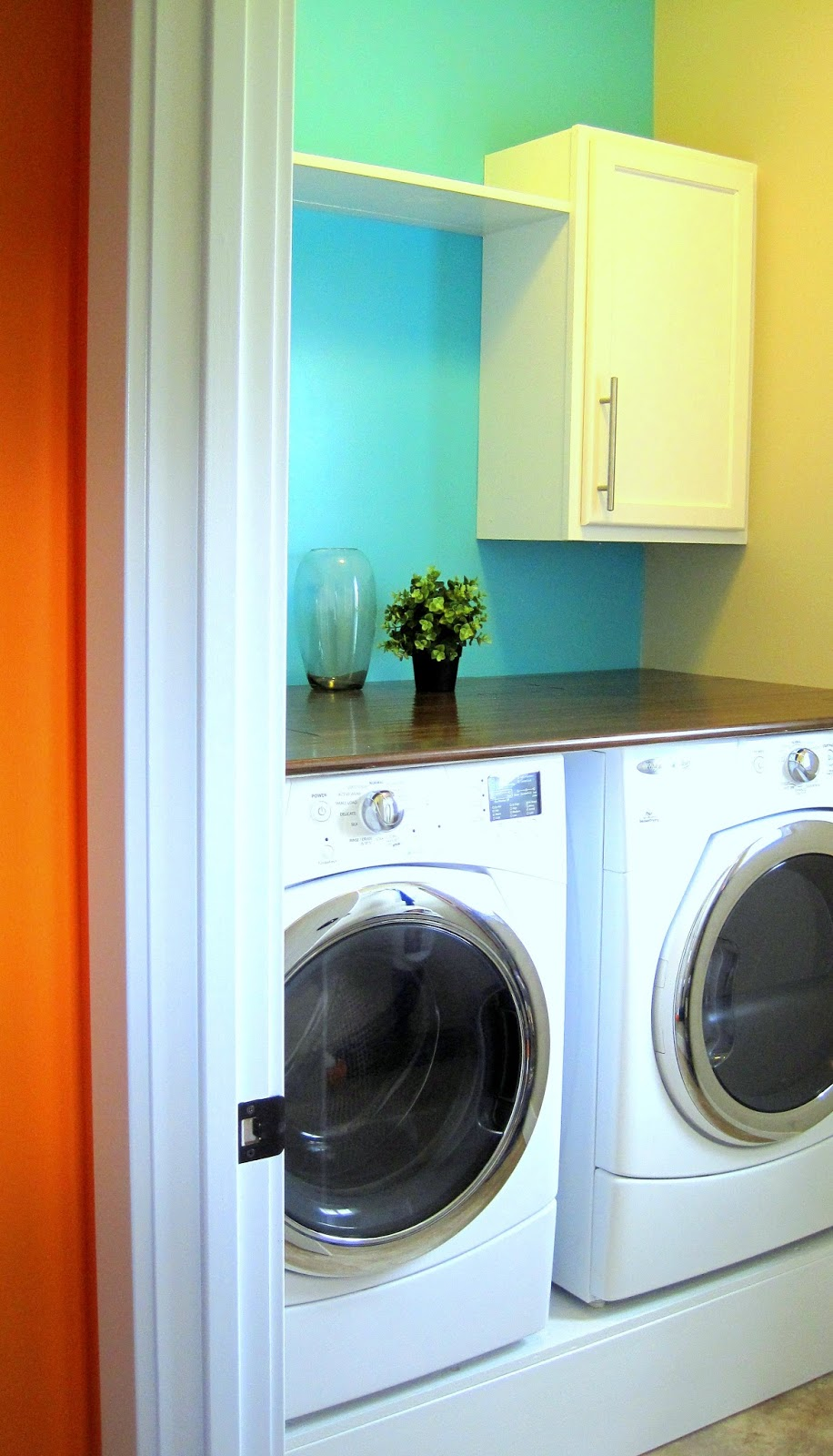 Aqua Colored Laundry Room
