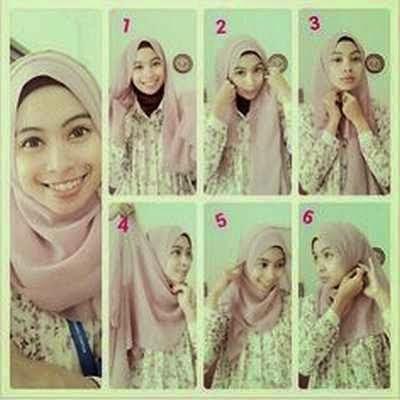 cara simpel memakai jilbab modern