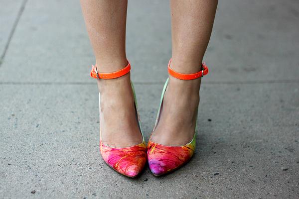 neon ankle strap pumps