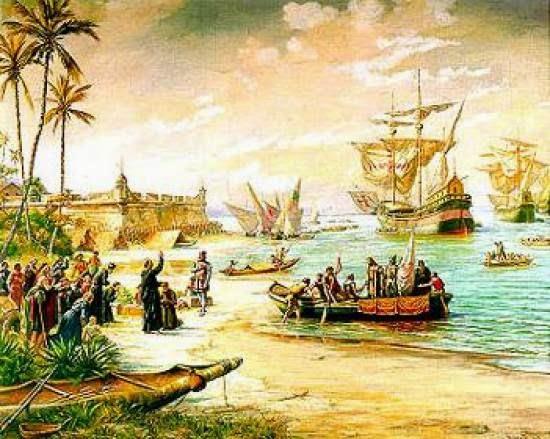 départ d'Estácio de Sá de São Vicente en 1565