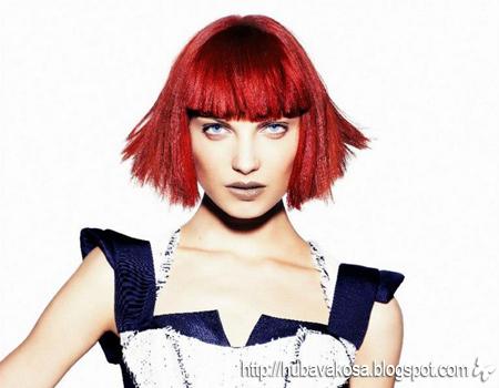 Каре с плътен бретон, червена коса