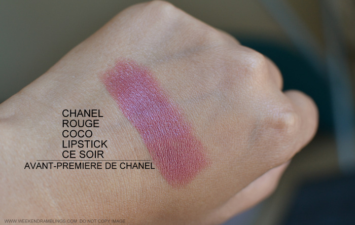 Chanel Ce Soir 51 Rouge Coco Lipstick Avant Premiere de Chanel Makeup Collection Swatch Review Photos FOTD Looks Indian Darker Skin Beauty Blog