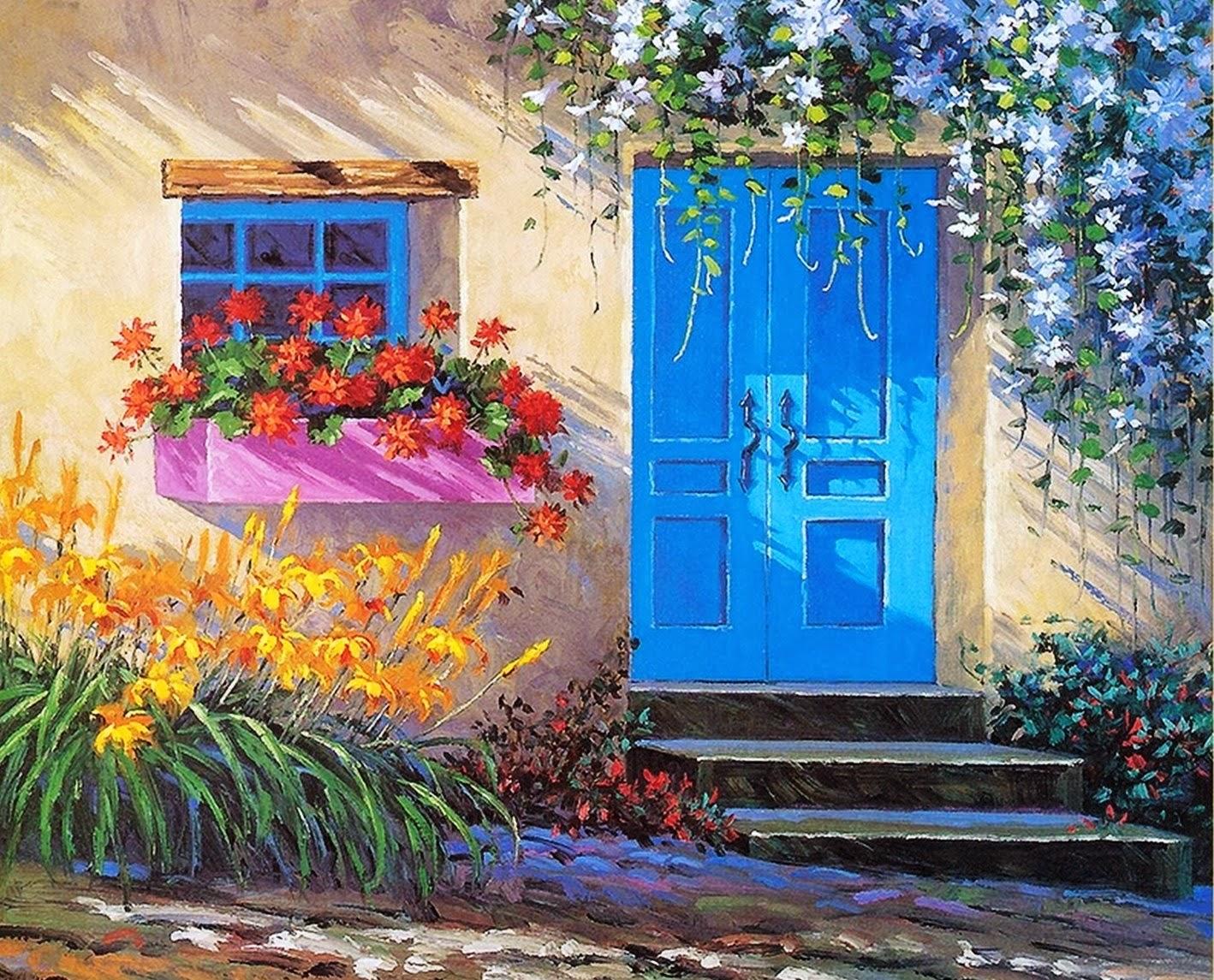 Cuadros modernos pinturas y dibujos pintura de flores al - Cuadros para pintar en casa ...
