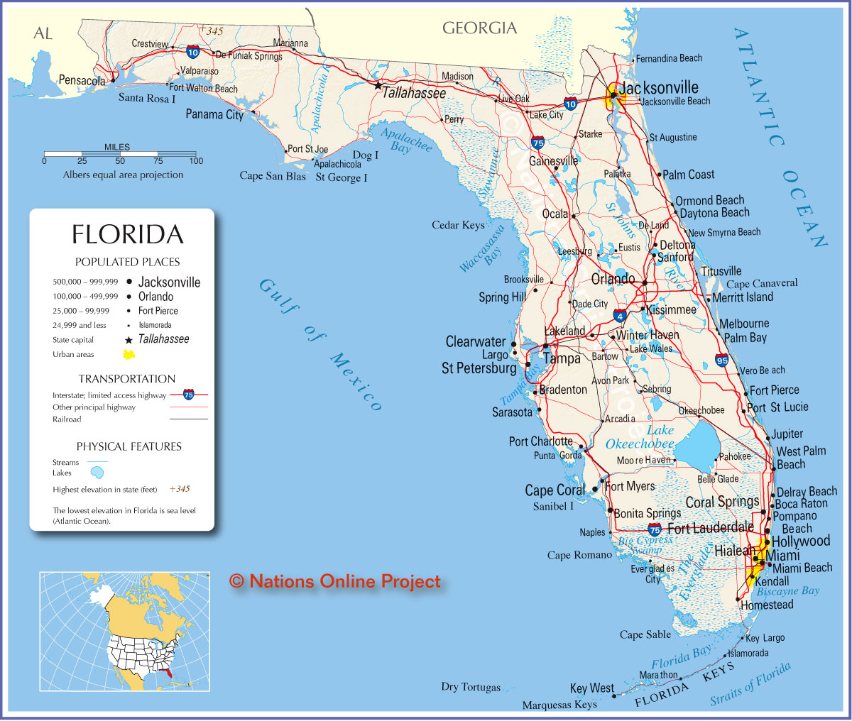Florida Map Eeuu