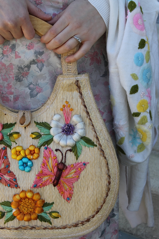 vintage straw embroidered purse and 1950s embroidered flower cardigan