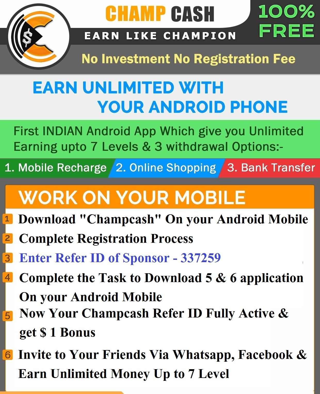 Phone How To Earn Money With Android Phone how to register champcash make money using android phone join champcash