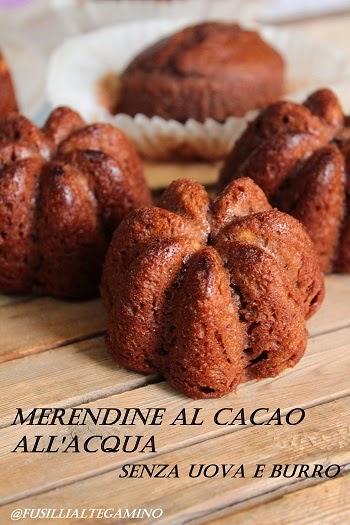 tortine al cacao all'acqua, senza uova e burro