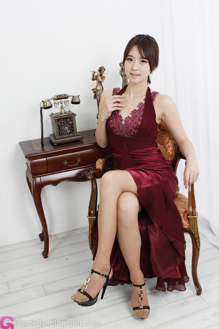 4 Choi Byeol Ha in Maroon  -Very cute asian girl - girlcute4u.blogspot.com