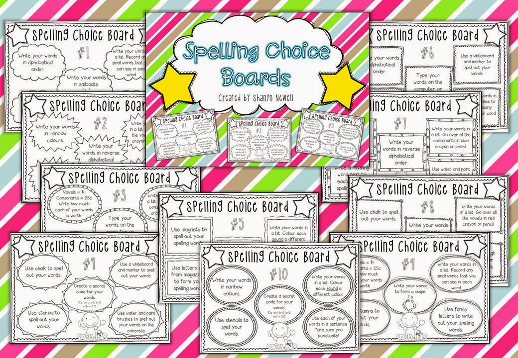 http://www.teacherspayteachers.com/Product/Spelling-Choice-Boards-For-Homework-or-Literacy-Rotations-701393