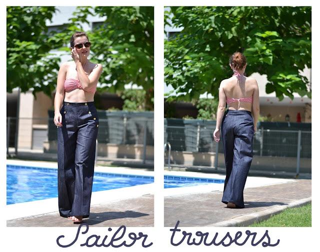 sailor trousers, pants, gold buttons, 40s, retro, pin up, Burda 125 04/2012