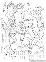 Gambar Barbie Putri Duyung Dan Kawan-Kawan Untuk Diwarnai Anak