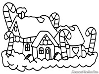 Mewarnai gambar dekorasi rumah unik untuk hari Natal