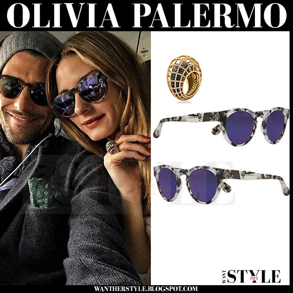Olivia Palermo with purple mirrored lens sunglasses westward leaning voyager what she wore
