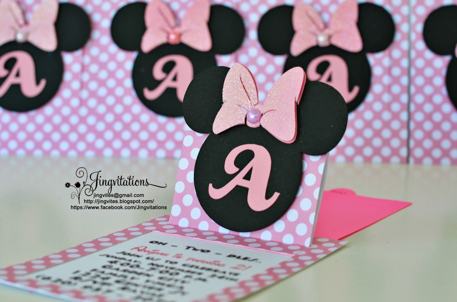 Jingvitations Cricut Handmade Minnie Mouse Pop Up Invitations – Handmade Mickey Mouse Birthday Invitations