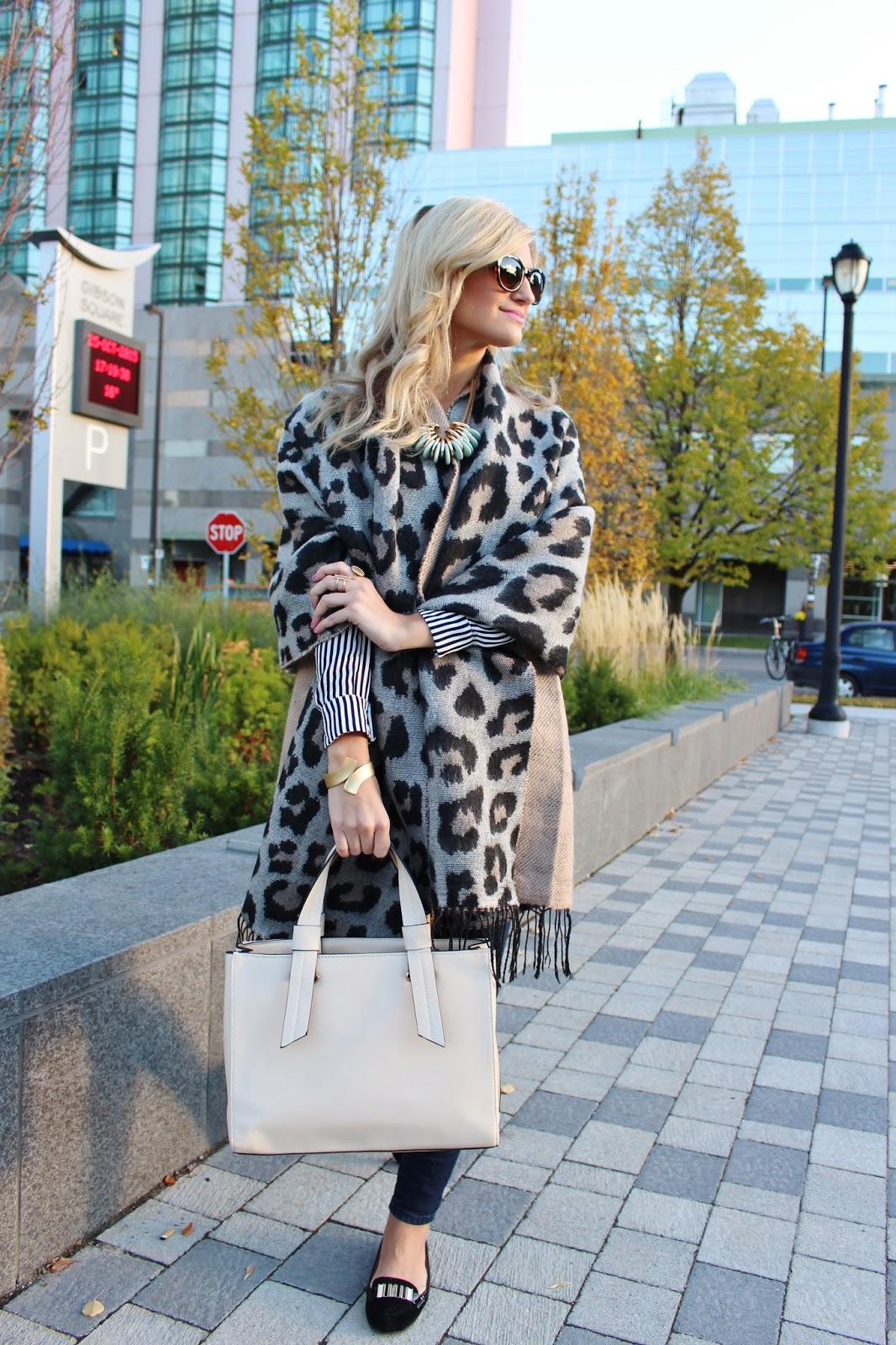 bijuleni - leopard scarf, jeans, and flats