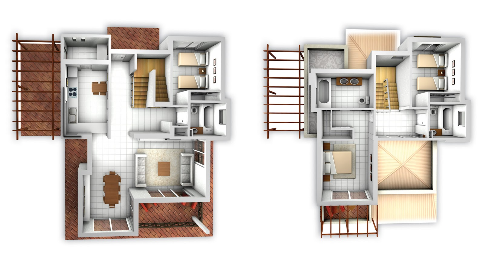 Foundation dezin decor residential layouts 3d view for Plan villa 3d