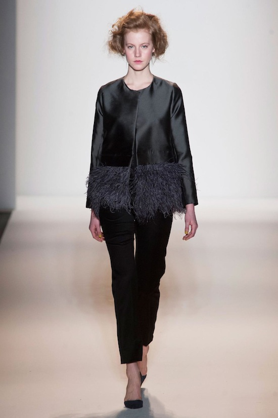 Lela Rose feather black jacket Fall 2013 Runway look