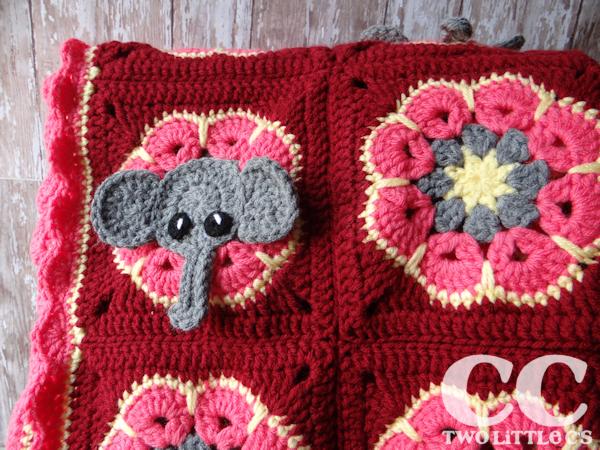 Two Little Cs Elephant Square Free Pattern