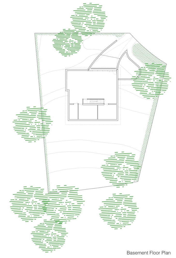 Basement floor plan of Modern Villa V by Paul de Ruiter Architects
