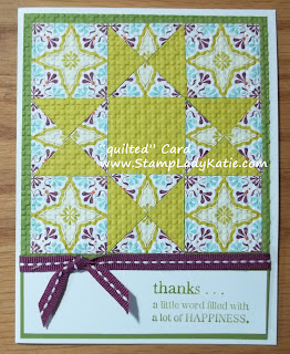 Quilt Card made with Designer Print Papers