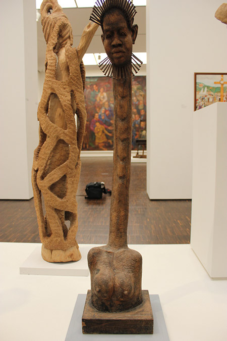 Photograph of African Art wood carvings with exaggerated extended body and neck.  See my article the Picasso Effect to compare Picasso's fascination with the same use of exaggerated form.