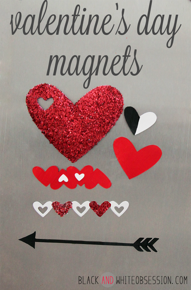 Free Cut File: DIY Valentine's Day Heart Magnets | Red, Painted, Glitter, Black and White | www.blackandwhiteobsession.com