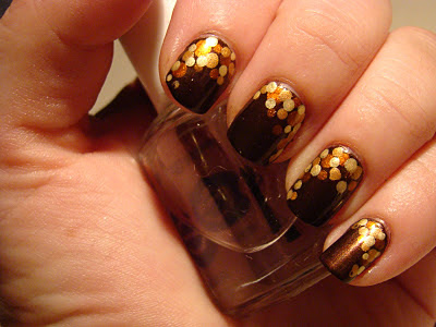 Thanksgiving fall nails dotticure brown copper