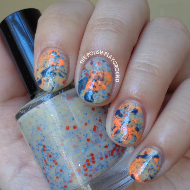 Neon Orange and Blue Splatter Nail Art