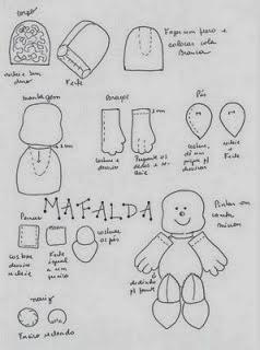 Boneca Mafalda de pano com moldes