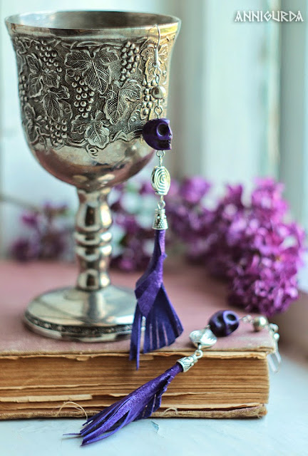 украшения, бижутерия, серьги, калавера, черепа, перья, кожа, фиолетовый