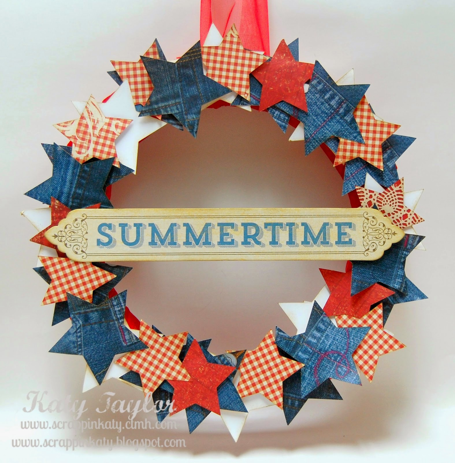Red White & Blue Summertime Star Wreath