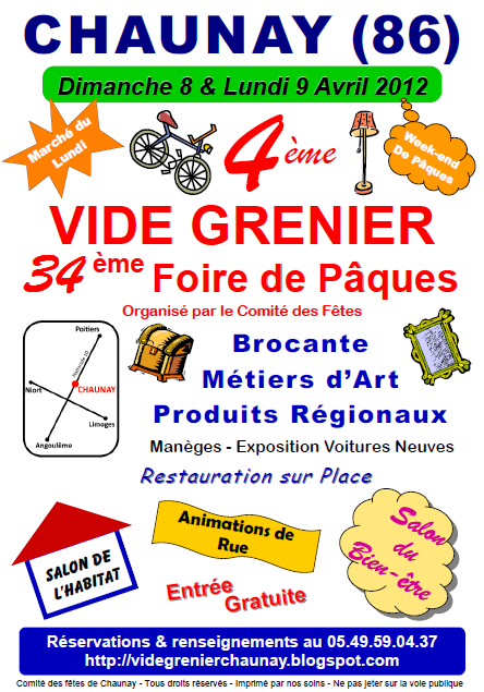 vide grenier chaunay foire de paques 2012 concert le. Black Bedroom Furniture Sets. Home Design Ideas