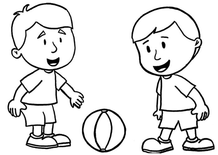 desenho rapaz jogar futebol pintado colorido por menino