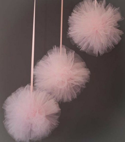 Make your own tulle pompoms as decoration