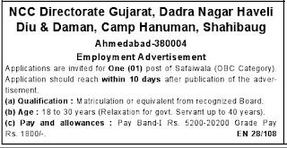 NCC Directorate Gujarat indgovtjobs