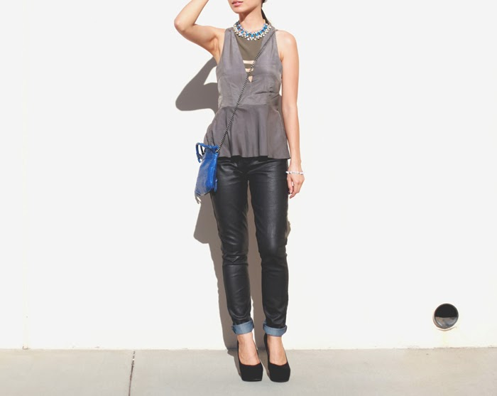 Stephanie Liu of Honey & Silk wearing Three of Something shirt, Rich & Skinny pants, ShopLately necklace, Foley & Corinna Tiny City bag, and Pink and Pepper shoes