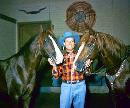 Gene Autry with Champion and Little Champ.