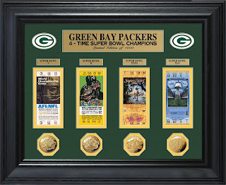 Green Bay Packers Super Bowl Ticket and Game Coin Collection Framed