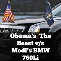Obama's  The Beast v/s Modi's BMW 760Li