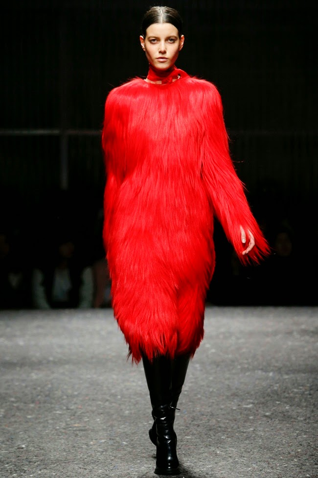 Prada 2014 AW Red Goats Hair Dress