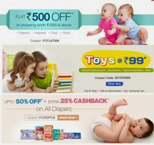 Firstcry: Cloths, Toys & more Rs. 500 off on Rs. 2000, Flat 83% off on selected products, Tees at Rs.199