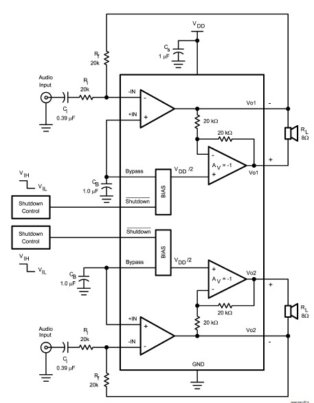 electronik  u0026 computer tips   lm4992 bassed stereo audio power amplifier circuit and explanation