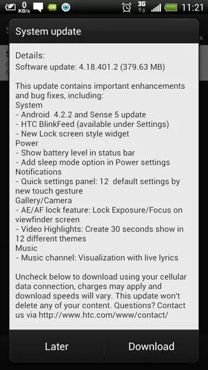 HTC One X Change Log