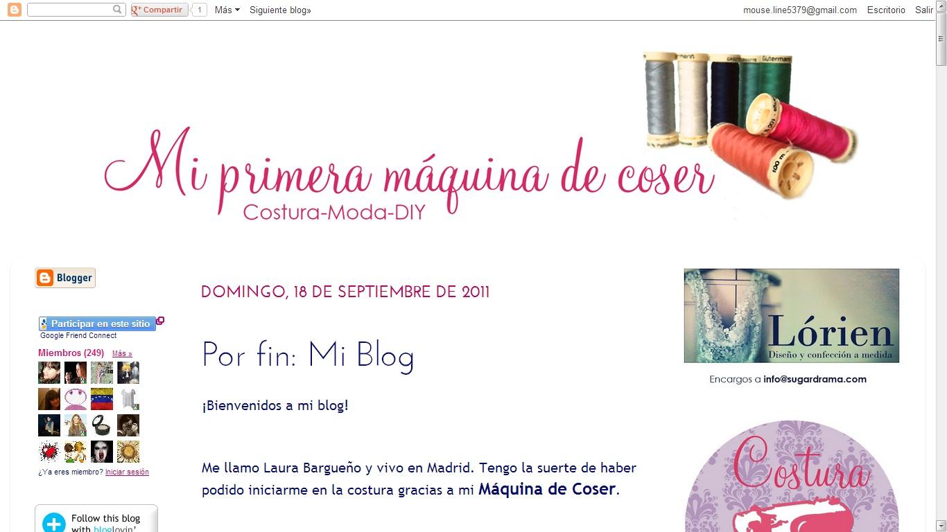 INSTANTES DE TIEMPO: MI PRIMERA MÁQUINA DE COSER