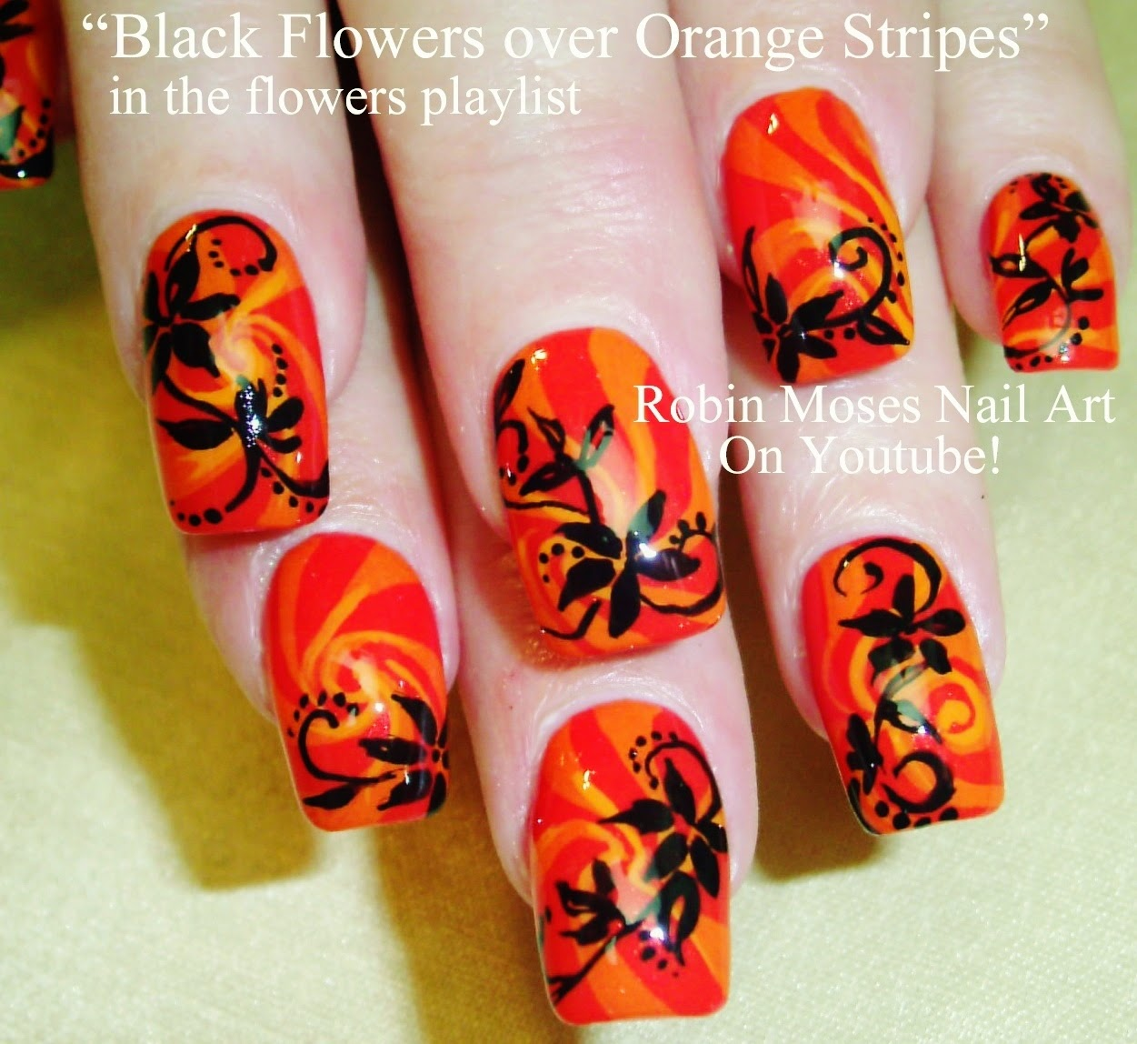 Nail Art By Robin Moses Black Flowers Nail Art Orange Nails