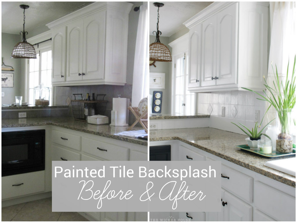 I painted our kitchen tile backsplash the wicker house i painted our kitchen tile backsplash dailygadgetfo Choice Image